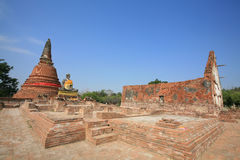 Ruin architecture landscape at Wat Worachet Tharam Stock Images