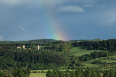 Ruin Brandenburg with Rainbow Royalty Free Stock Photo