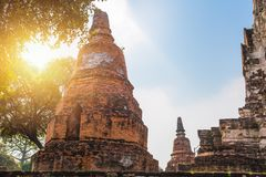 Ruin Brick Ancient temple in Ayutthaya Travel Royalty Free Stock Photography
