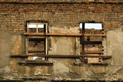 Ruin brick facade Stock Photography