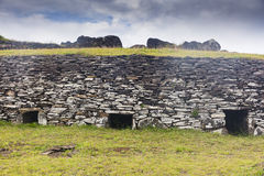 Ruin of a brick house. At Easter Island, Chile Royalty Free Stock Photography