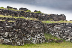 Ruin of a brick house. At Easter Island, Chile Royalty Free Stock Image