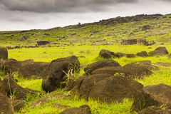 A ruin of a brick house. At Easter Island, Chile Stock Images