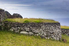 A ruin of a brick house. At Easter Island, Chile Royalty Free Stock Images