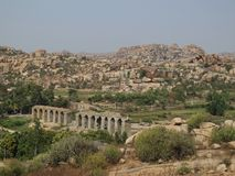 Ruin of a bridge in Hampi, India Stock Images