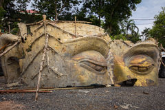 The ruin Buddha Head  in Thai temple Royalty Free Stock Photography