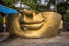The ruin Buddha Head  in Thai temple Stock Image