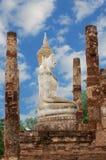 Ruin of Buddha. A photo of ruin of Buddha sitting among  stone pillars, is a World Heritage at Sukhothai Historical Park, Sukhothai, Thailand Royalty Free Stock Photos