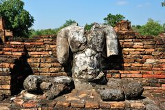 Ruin buddha statue in Sukhothai Royalty Free Stock Photo