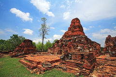 Ruin Buddha statues on brick pagodas in Sukhothai Royalty Free Stock Photography