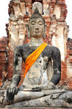 Ruin buddha at wat mahathat Royalty Free Stock Photos