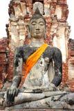 Ruin buddha at wat mahathat Royalty Free Stock Photos