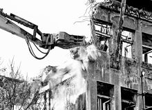 Ruin building. Demolition of building black and white Stock Photography