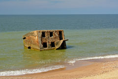 Ruin of bunker in the sea at Karosta old military base, Liepaja Royalty Free Stock Image
