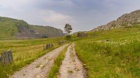 Capel Rhosydd, Wales, UK. The ruin of Capel Rhosydd near Blaenau Ffestiniog, Gwynedd, Wales, UK - with Cwmorthin Quarry in the background Stock Photo