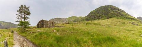 Capel Rhosydd, Wales, UK. The ruin of Capel Rhosydd near Blaenau Ffestiniog, Gwynedd, Wales, UK - with Moel Yr Hydd in the background royalty free stock image