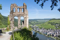 Ruin of castle Grevenburg along river Moselle. Ruin of castle Grevenburg with aerial view at Traben Trarbach along river Moselle in Germany Stock Photography