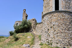 Ruin castle of Grimaud in France Stock Photos