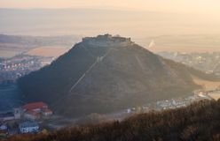 Ruin of a Castle on a Hill. Ruin of the Castle on the Hill at Sunrise. Schlossberg Castle in Hainburg an der Donau, Austria at Sunrise as Seen from Hundsheimer royalty free stock photo