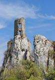 Ruin of castle on the rock, Sirotci hrad, Czech republic Stock Images