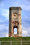 Ruin of castle tower, Poland. Old, ruined stone clock tower of Zamek Krzyztopor castle in Ujazd, Poland Stock Photography