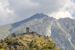 Ruin of castle in Valle d'Aosta Stock Photography