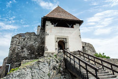 Ruin castle of Visegrad, Hungary, ancient architecture with stai Stock Photos