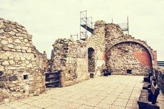 Ruin castle of Visegrad, Hungary, photo filter Stock Image