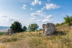 Ruin of the chapel and stone wall on meadow, with trees and grass. Summer weather with blue sky.  Royalty Free Stock Photo