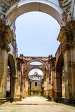 Ruin of church in Antigua - Guatemala stock image