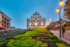 The Ruin of the Church Facade at night in Macao, China Stock Photo