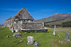Ruin of a church and graveyard Stock Photo