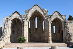 Ruin of the church Panagia tou Bourgou Royalty Free Stock Photography