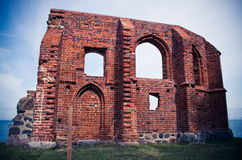 Ruin of the church in Trzesacz, Poland Stock Images