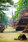 The ruin and collapsed pagoda. In Ayutthaya Historical Park, Thailand Stock Image