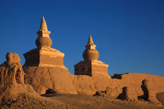 The ruin in desert stock image