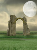 Ruin in the field royalty free illustration