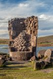 Ruin of a funerary tower in Sillustani stock photography