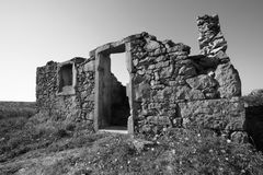 A ruin in Galicia. A ruin with morning daylight in Spain royalty free stock image