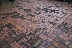 Ruin graphic. Mosaic of ancient floor in Thai temple Royalty Free Stock Photo
