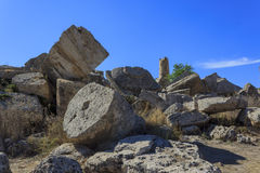 Ruin of Greek Temple Columns - Sicily, Italy Royalty Free Stock Photography