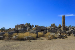 Ruin of Greek Temple Columns - Sicily, Italy Stock Photography