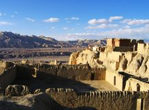 The ruin of Guge Kingdom. Guge is a long lost kingdom in the history of Tibet. There are remains of stupa and monastry.The ruin of ancient Guge Kingdom is Royalty Free Stock Photos