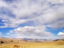 The ruin of Guge Kingdom - sunshine. Guge is a long lost kingdom in the history of Tibet. There are remains of stupa and monastry.The ruin of ancient Guge Stock Images