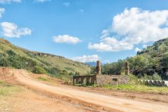Ruin of historic trading post on the Sani Pass road Royalty Free Stock Photos