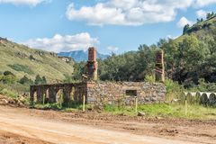 Ruin of historic trading post on the Sani Pass road Royalty Free Stock Image