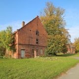 Ruin on historical manor grounds in Stilow, Mecklenburg-Vorpommern, Germany. The buildings are listed as monuments Royalty Free Stock Photos