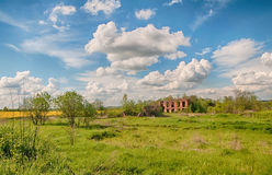 Ruin house. Abandoned ruin house in the field Stock Image