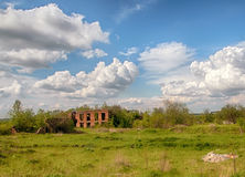 Ruin house. Abandoned ruin house in the field Royalty Free Stock Images