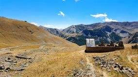 A ruin of house on the top mountain in the France.  Stock Photos